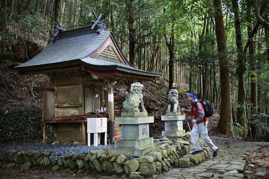 Peregrino en el santuario de Tsugizakura - oji. Kumano kodo. Wakayama, Japón