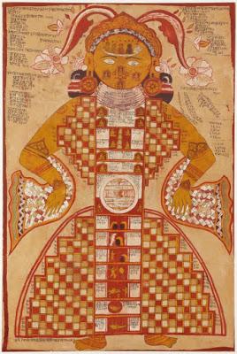Purushkara Yantra, gouache sobre seda del siglo XVIII