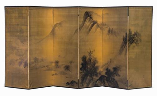 3. Biombo de seis hojas de Yagioka Shuzan, de principios del siglo XIX